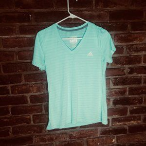 Adidas Ultimate Tee Green Teal Striped Medium